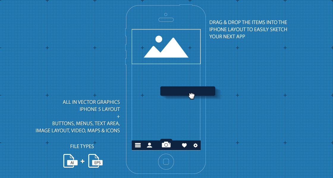 iPhone 5 UI / GUI Blueprint App Sketch @ GraphicRiver.net