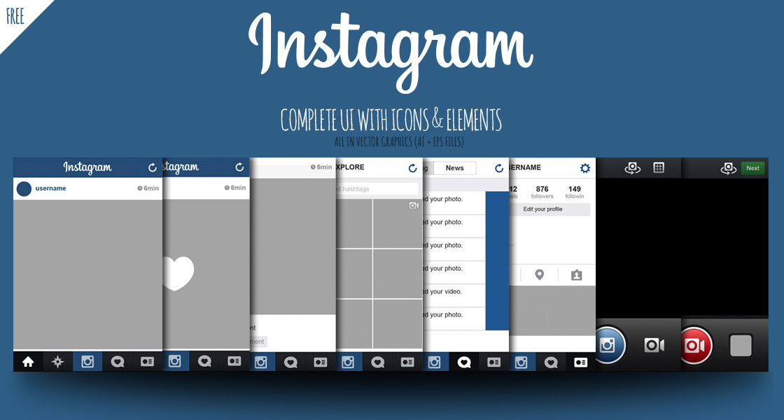 FREE Instagram Complete Vector UI with Icons & Elements