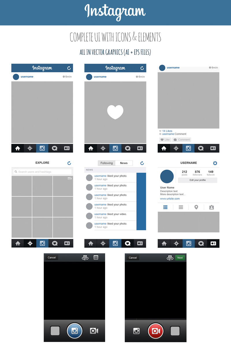 free instagram complete vector ui with icons elements marinad. Black Bedroom Furniture Sets. Home Design Ideas