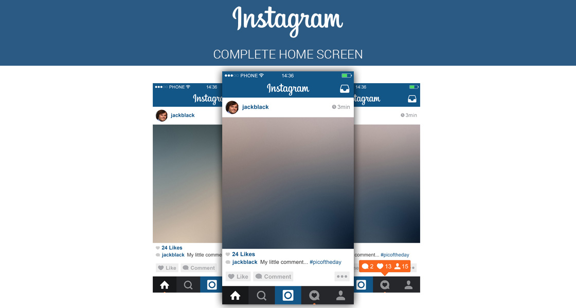 FREE Instagram Home Screen PSD UI