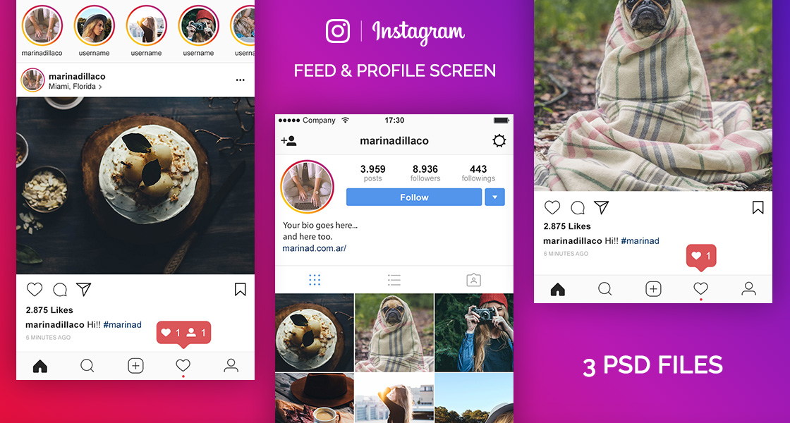 FREE Instagram Layout UI PSD – 2017