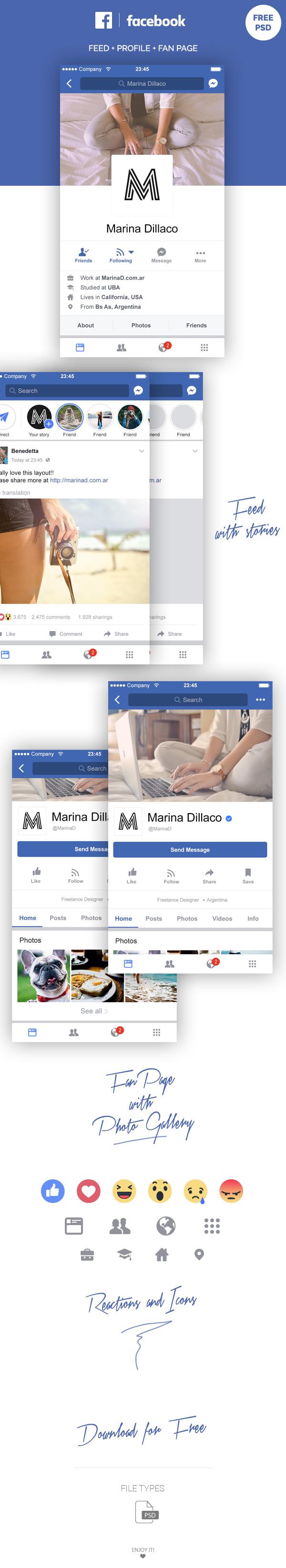 facebook mobile ui psd download