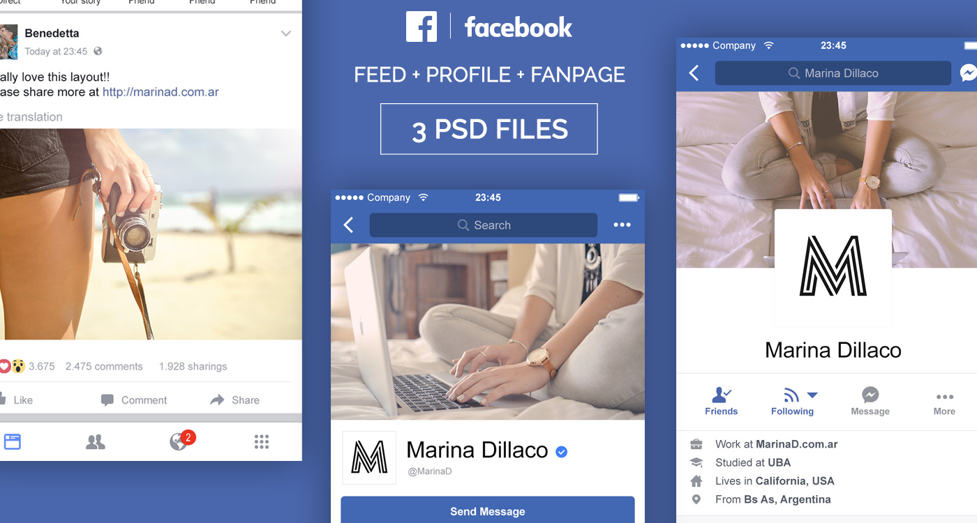 FREE Facebook Mobile UI PSD