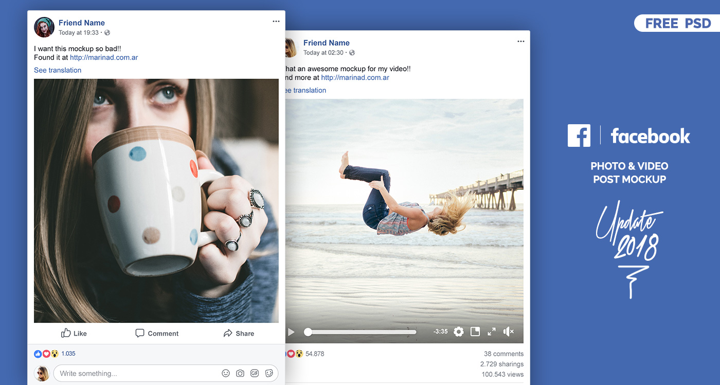FREE Facebook Post Mockup PSD – 2018