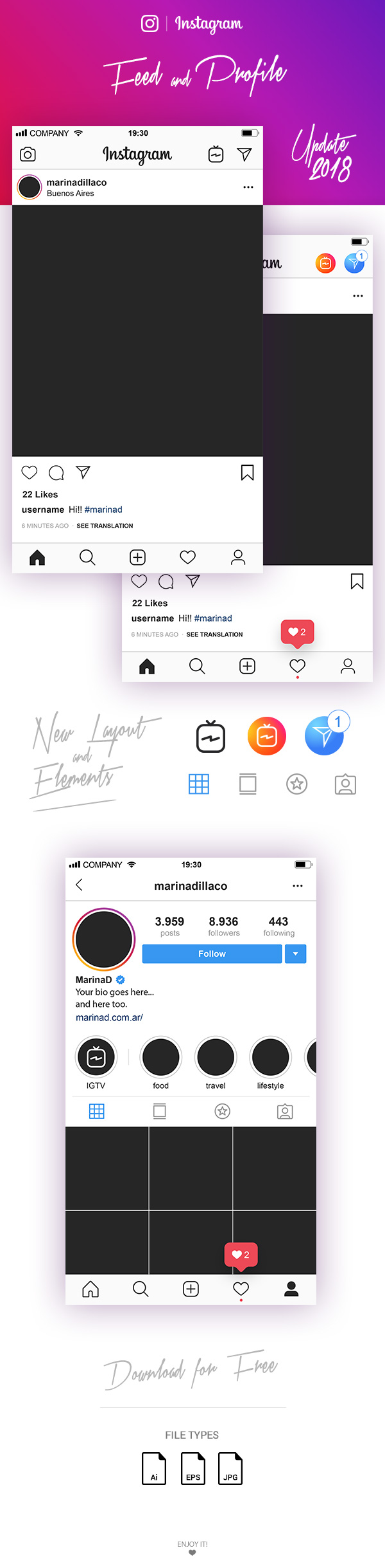 FREE Instagram Layout Feed and Profile UI - 2018 - MarinaD