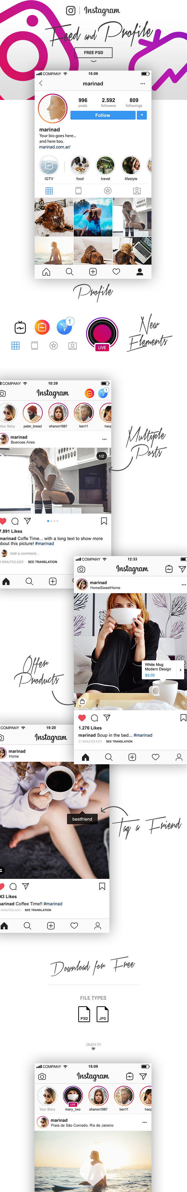 instagram ui freebie layout psd