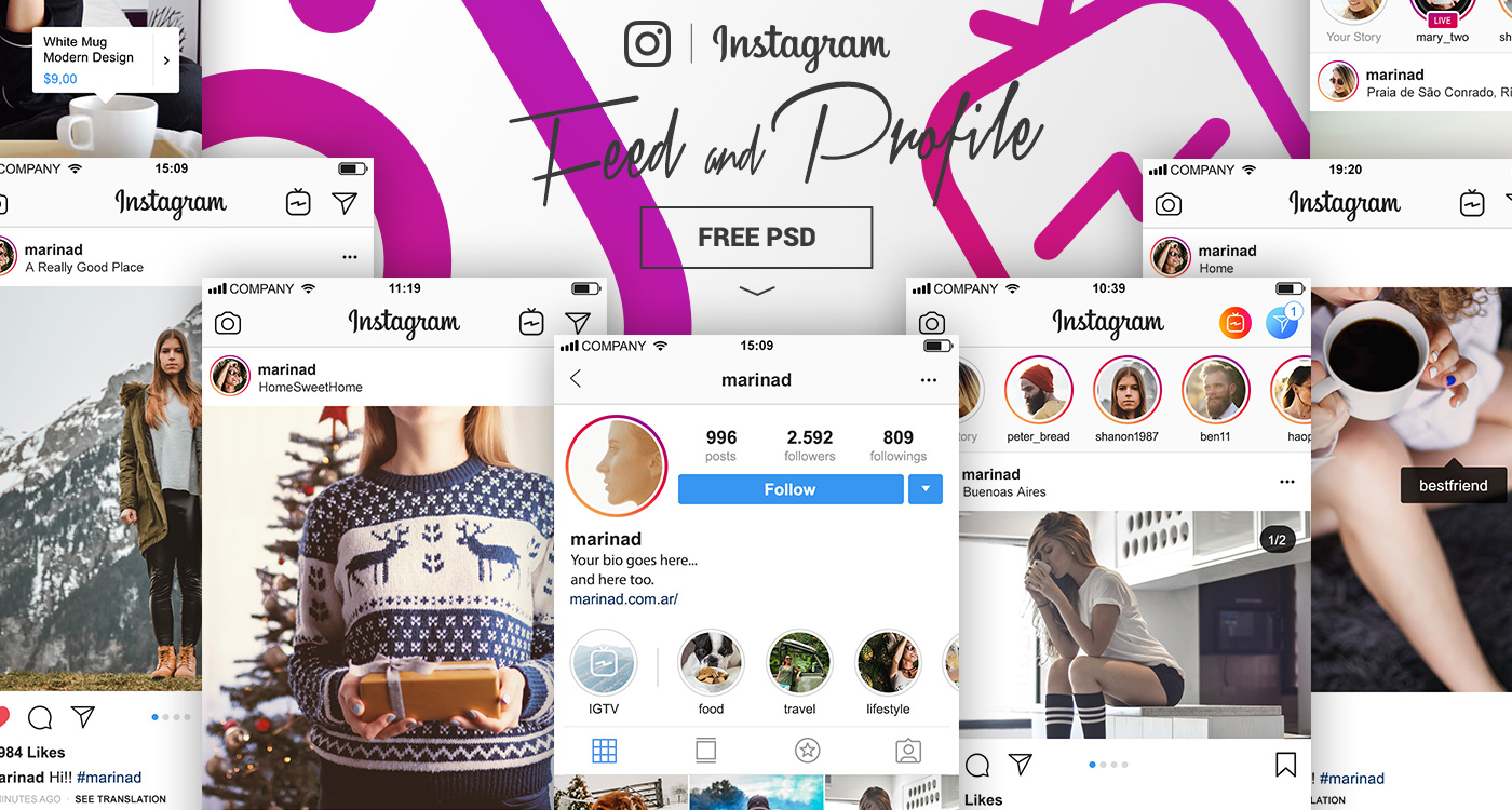 FREE Instagram PSD Feed and Profile Complete UI – 2018