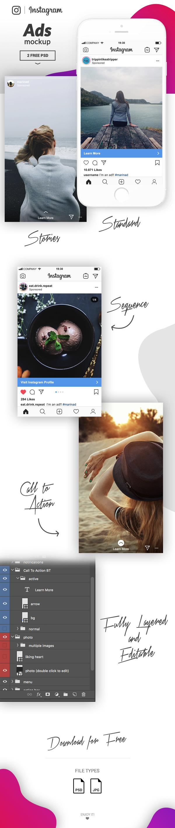 instagram ads mockup ui layout