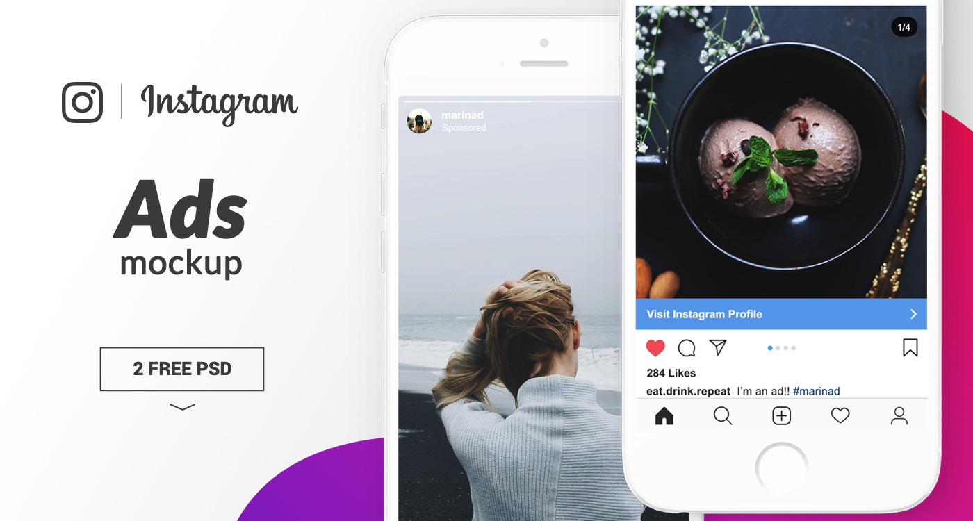 FREE Instagram Ads Mockup – 2018
