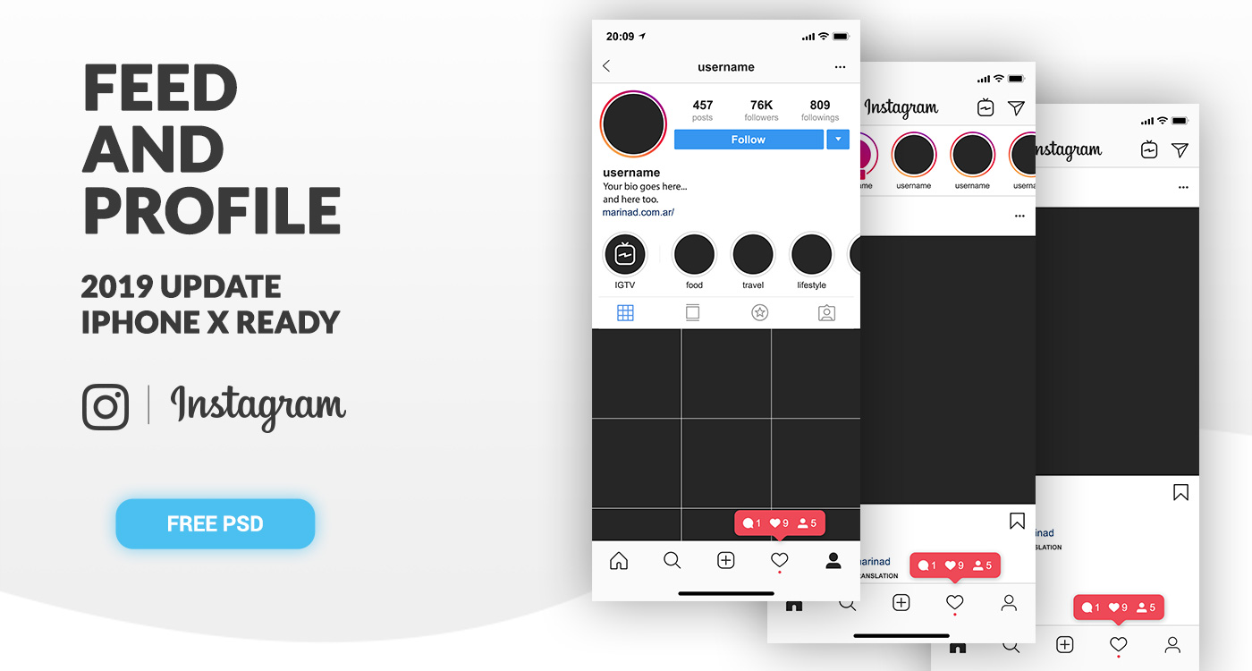 FREE Instagram Feed and Profile PSD UI – 2019
